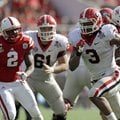 Georgia running back Todd Gurley (3) runs for a 24-yard touchdown past the Nebraska defense during t...