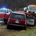 Fayetteville police officers investigate an accident Monday afternoon on North Shiloh Drive just sou...