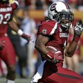 South Carolina's Ace Sanders (1) runs back a punt 63-yards for a touchdown against Michigan during t...