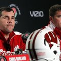 Wisconsin defensive coordinators Charlie Partridge, left, and Chris Ash answer questions during a ne...