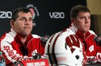 Wisconsin defensive coordinators Charlie Partridge, left, and Chris Ash answer questions during a news conference in Los Angeles on Friday, Dec. 28, 2012. (AP Photo/Nick Ut)
