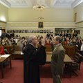 Doug Schrantz, left, Benton County Circuit Judge, swears in Benton County District 1 Justice of the ...