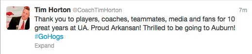 Tim Horton tweets following his ...