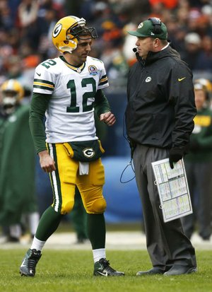 Green Bay Coach Mike McCarthy (right) and quarterback Aaron Rodgers will lead the Packers against the Minnesota Vikings for the second time in six days when the teams meet today.