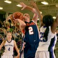 Ashley Ward of Rogers Heritage is fouled by Fayetteville forward Vanessa Matlock, right, as Ward tri...
