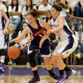 Sydney Crockett of Fayetteville tries to knock the ball away from Rogers Heritage guard Brittany War...