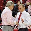 """It's a grind in the SEC,"" Arkansas women's Coach Tom Collen (right, shown with Texas A&M Coach Gary..."