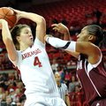 NWA Media/MICHAEL WOODS --01/06/2013-- Arkansas forward Sarah Watkins tries to get past Texas A&M de...