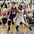 Brittany Ward, Rogers Heritage guard, tries to spin past Fayetteville defender Jaylah Prude on Frida...