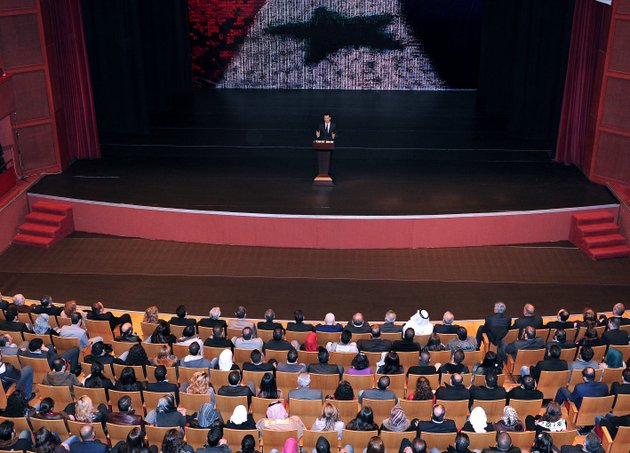 in-this-photo-released-by-the-syrian-official-news-agency-sana-syrian-president-bashar-assad-speaks-at-the-opera-house-in-central-damascus-syria-sunday-jan-6-2013-syrian-president-bashar-assad-on-sunday-outlined-a-new-peace-initiative-that-includes-a-national-reconciliation-conference-and-a-new-government-and-constitution-but-demanded-regional-and-western-countries-stop-funding-and-arming-rebels-first