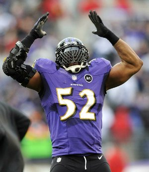 Baltimore Ravens inside linebacker Ray Lewis (52) gave hometown fans a final taste of his trademark dance near the end of the second half of Sunday's NFL wild-card playoff game against the Indianapolis Colts in Baltimore. Lewis will retire at the end of the season.