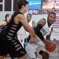 Tulsa Edison Prepartory School's DJ Mahone looks for a way around Payton Henson of Siloam Springs Hi...