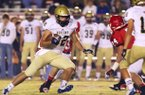Special the the Arkansas Democrat Gazette/MATT JOHNSON - 11-01-2012- Pulaski Academy tight end, and Arkansas commit, Hunter Henry turns upfield during first-half action against Jacksonville on November 1, 2012.
