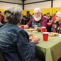 Sherman Treat, center, talks with Glen Odglen, from left, Swen Odglen and Gerene Treat during ostomy...