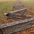 Split-rail fences add to the Civil War atmosphere at Pea Ridge National Military Park.