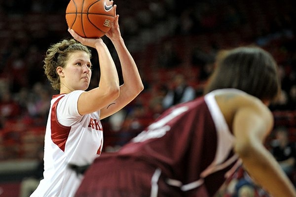 NWA Media/MICHAEL WOODS --01/06/2013-- University of Arkansas forward Sarah Watkins shoots a free throw during Sunday afternoon's game at Bud Walton Arena in Fayetteville.