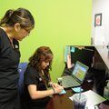 Araceli Mancia, right, and Sofia Kilpatrick, both medical assistants at the Wellness Center at Jones...
