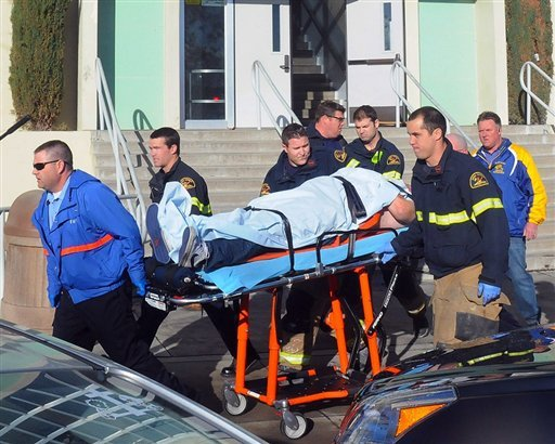 this-image-provided-by-the-taft-midway-drillerdoug-keeler-shows-paramedics-transporting-a-student-wounded-during-a-shooting-thursday-jan-10-2013-at-san-joaquin-valley-high-school-in-taft-calif-authorities-said-a-student-was-shot-and-wounded-and-another-student-was-taken-into-custody
