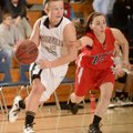 Bentonville's Deanna Adkins, left, shown driving past East Newton (Mo.) defender Shelbey Thomlinson ...