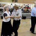 Jewell Barnett and husband Clyde Barnett dance Thursday at the Springdale Senior Center. The Barnett...