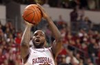 Arkansas Democrat-Gazette/STEPHEN B. THORNTON -- Arkansas' Marshawn Powell drives to the basket in the second half against Alabama A&M's on Dec. 22, 2012 at Verizon Arena in North Little Rock.