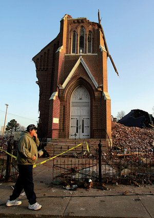 Churches destroyed or damaged by natural disasters, like St. Joseph's Catholic Church in Ridgway, Ill., which was hit by a tornado, are not eligible for federal aid.