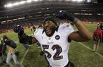 Baltimore linebacker Ray Lewis celebrates a double-overtime victory over Denver that extended his final season.