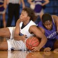 Taylor Strickland, left, Rogers High, battles for a loose ball Friday with Fayetteville's Brittany A...