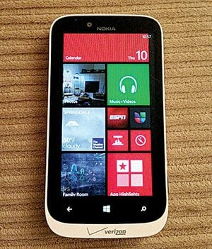 "The Nokia Lumia 822 smart phone uses the new Windows Phone 8 operating system, which features ""live tiles"" that provide customized information at a glance."