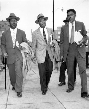 Martin Luther King Jr. (center) and Bayard Rustin, right, in 1956, when they were leading the bus boycott in Montgomery, Alabama. They are shown with the Rev. Ralph Abernathy (left).