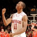 NWA Media/ANTHONY REYES -- Arkansas sophomore BJ Young celebrates in the second half against Auburn ...