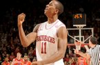 NWA Media/ANTHONY REYES -- Arkansas sophomore BJ Young celebrates in the second half against Auburn on Wednesday, Jan. 16, 2013 in Bud Walton Arena in Fayetteville. The Razorbacks won 88-80 in double overtime.