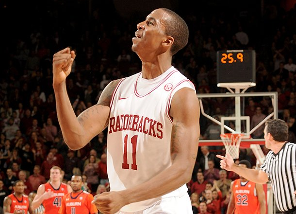 nwa-mediaanthony-reyes-arkansas-sophomore-bj-young-celebrates-in-the-second-half-against-auburn-on-wednesday-jan-16-2013-in-bud-walton-arena-in-fayetteville-the-razorbacks-won-88-80-in-double-overtime