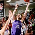 Lauren Schuldt, Fayetteville sophomore, puts up a shot Friday around Springdale High junior Karen Pe...
