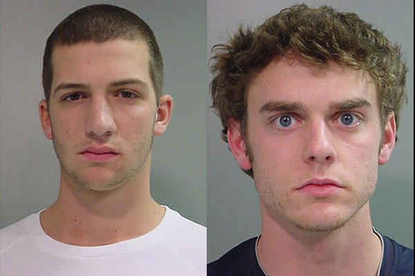 Colin Poche (left) and Adam Meyer (right) were arrested Sunday and charged with shoplifting.
