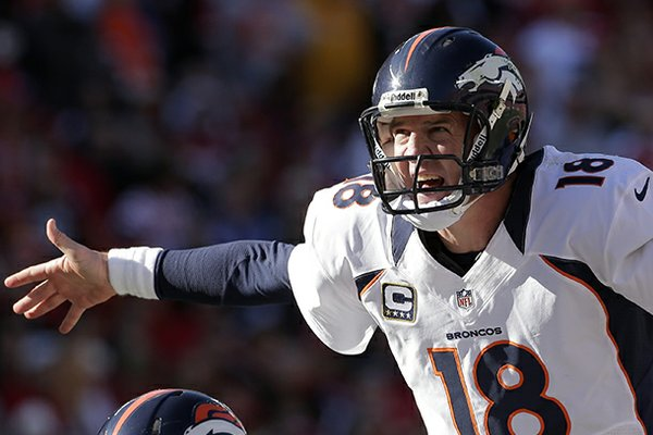 Denver Broncos quarterback Peyton Manning calls a play during the first half of an NFL football game Sunday, Nov. 25, 2012, in Kansas City, Mo. (AP Photo/Charlie Riedel)