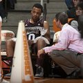 Mississippi State guard Jalen Steele (0) was briefly benched to ice his knees during the second half...
