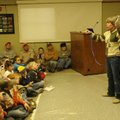 Wildlife rehabilitator Lynn Sciumbato gives a bird program using a live red-tailed hawk. She also br...