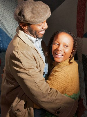 Corey Jones (left), as Macon, and Nambi E. Kelley, as Sadie, star in the Arkansas Repertory Theatre's production of Gee's Bend.