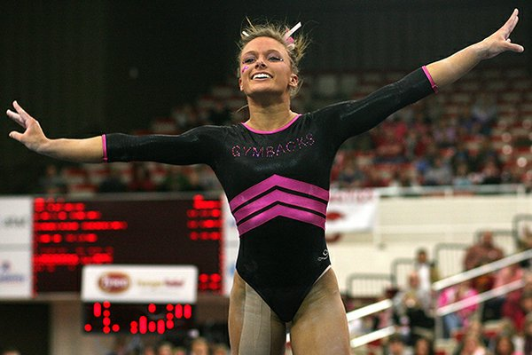Arkansas' Katherine Grable competes on the floor against Oklahoma Sunday, February 5, 2012 at Barnhill Arena in Fayetteville.