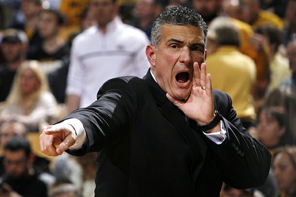 South Carolina coach Frank Martin calls out during his team's NCAA college basketball game against Missouri on Tuesday, Jan. 22, 2013, in Columbia, Mo. Missouri won 71-65. (AP Photo/St. Louis Post-Dispatch, Chris Lee)