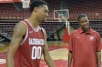 Arkansas assistant TJ Cleveland (right) scored 15 points in the Razorbacks' last win at South Carolina in 2001.