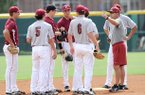 NWA Media/ANDY SHUPE -- Arkansas baseball coach Dave Van Horn speaks to his infield Friday, Sept. 7, 2012, prior to the Razorbacks' first practice of the fall season.