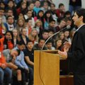 Matt de la Pena speaks to students Thursday at Southwest Junior High School in Springdale. De la Pen...