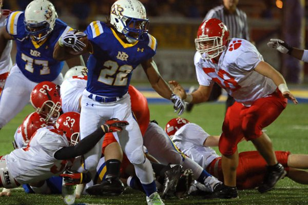 Alabama commit Altee Tenpenny, pictured running the ball against Cabot, was visited by Arkansas coach Bret Bielema and running backs coach Joel Thomas on Thursday.