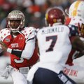 Senior Bowl South Squad quarterback EJ Manuel of Florida State (3) looks for a receiver as North Squ...