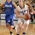 Samantha Weber, right, Springdale Har-Ber, looks to the basket Friday under pressure from Rogers Hig...