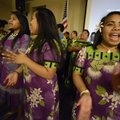 "Martha Samuel, right, of Springdale performs the song ""Totor Iumin Mejatoto,"" meaning ""living exciti..."