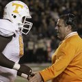 Arkansas offensive line coach Sam Pittman, who coached at Tennessee in 2012, was pivotal in Dan Skip...