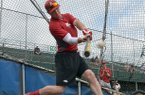 Arkansas Democrat-Gazette/MICHAEL WOODS --06/19/2012-- Arkansas hitter Matt Vinson takes batting practice in Omaha, Neb.